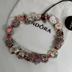 Pandora Bracelet w/ Pink Charms